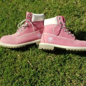 Big kid pink timberland boots